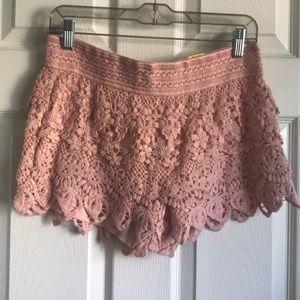 Pink lace shorts NWT